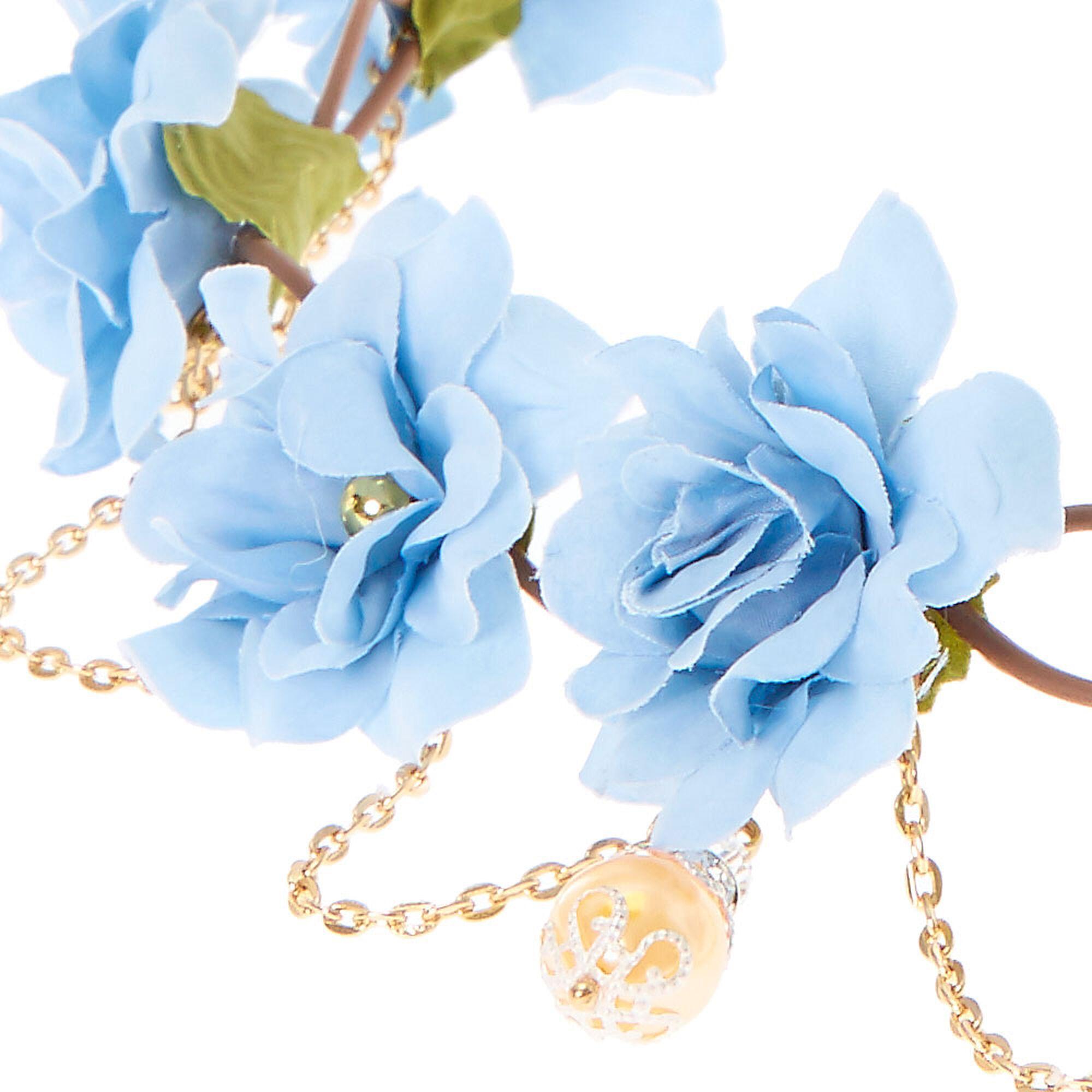 Gold chain flower crown headwrap baby blue claires us gold chain flower crown headwrap baby blue izmirmasajfo