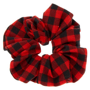 Medium Buffalo Check Hair Scrunchie - Red,