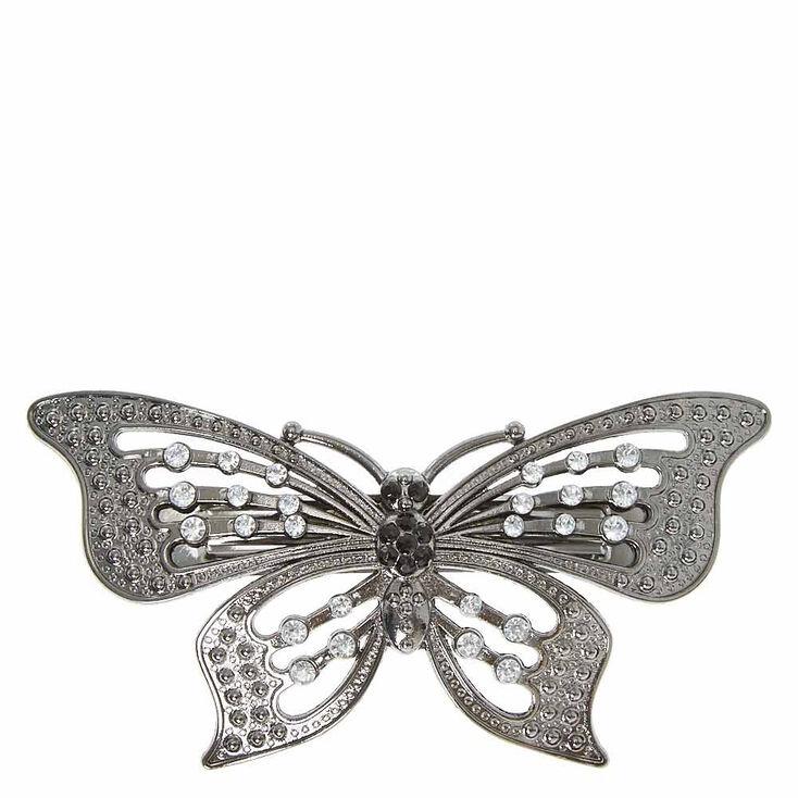 Hematite Butterfly Hair Barrette,
