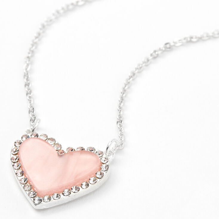 Silver Crystal Framed Heart Pendant Necklace - Pink,