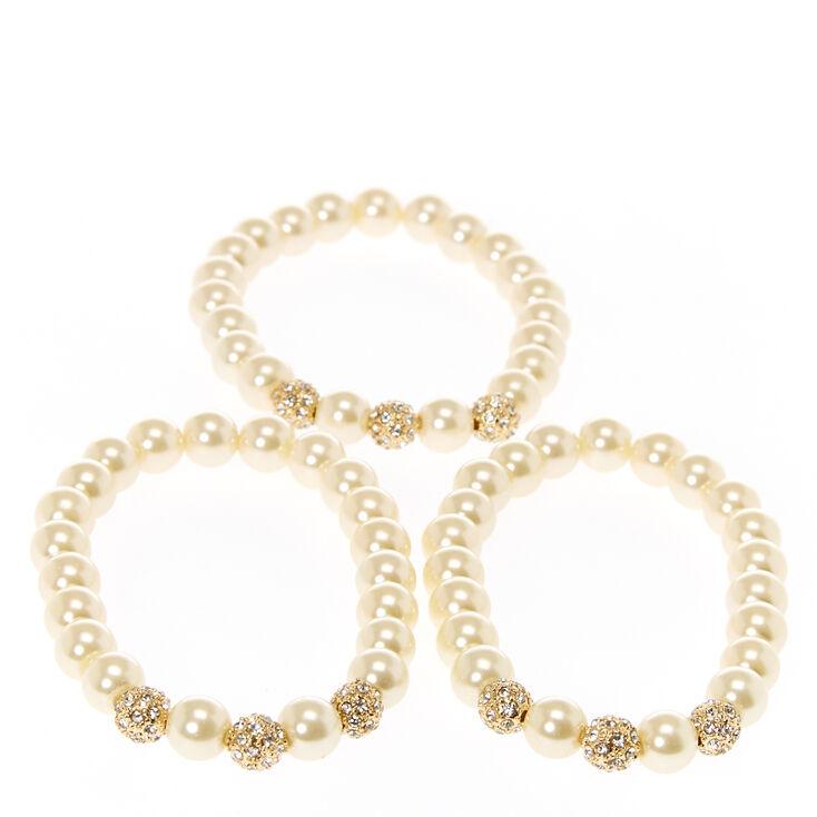 Bracelets boules de feu de perles d'imitation en ivoire couleur dorés,