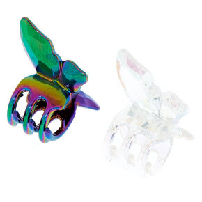Small Iridescent Butterfly Hair Claws - 2 Pack,