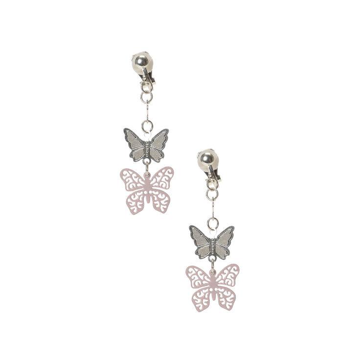 Boucles d'oreilles à clip avec pendentif papillon,
