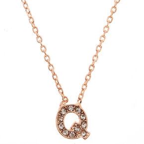 Rose Gold Embellished Initial Pendant Necklace - Q,