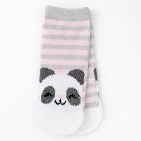 Claire's Club Panda Chenille Socks - Gray,