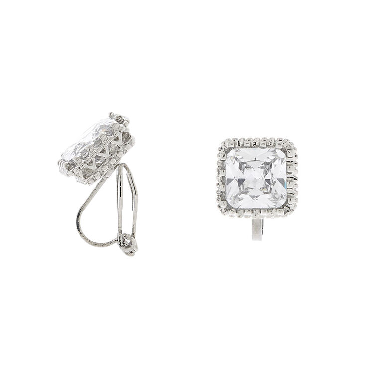 Square Cubic Zirconia Cushion Framed Clip On Stud Earrings