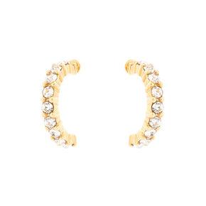 18kt Gold Plated Crystal Half Hoop Earrings,