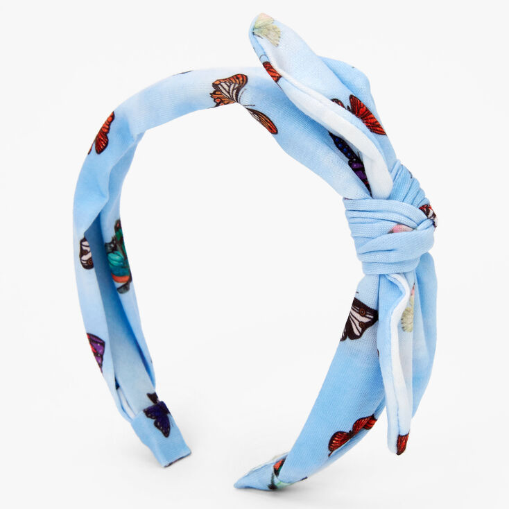 Butterfly Knotted Bow Headband - Blue,