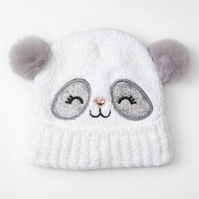 Claire's Club Panda Chenille Beanie - White,