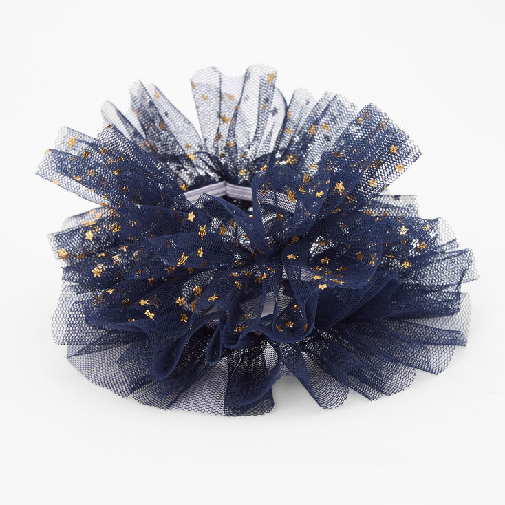 Claire's Club Small Star Tulle Hair Scrunchies - Navy, 2 Pack,