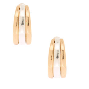 Mixed Metal 15MM Clip On Hoop Earrings,