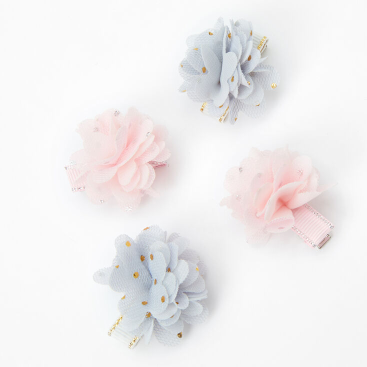 Claire's Club Pastel Chiffon Flowers Hair Clips - 4 Pack,