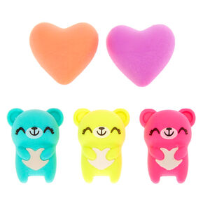 Sugar the Bear Rainbow Heart Erasers - 5 Pack,
