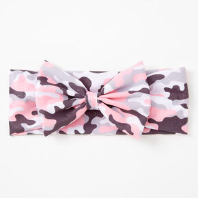 Claire's Club Camo Print Bow Headwrap - Pink,