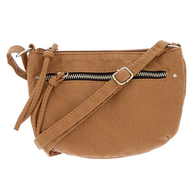 5124fadccb7c Small Faux Leather Crossbody Bag - Tan