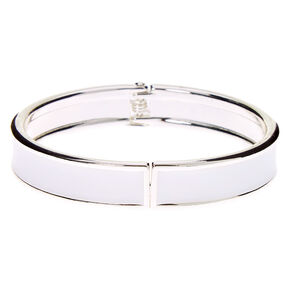 Silver Hinge Cuff Bracelet - White,