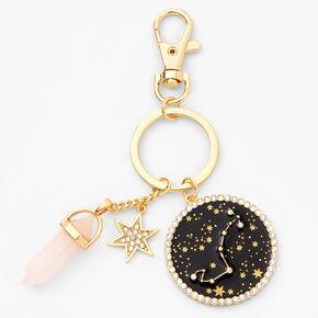 Porte-clés zodiaque avec cristaux de guérison (imitation) couleur dorée - Scorpion,