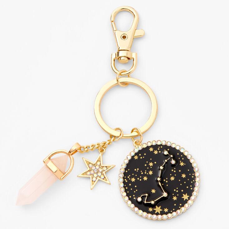 Gold Healing Crystal Zodiac Keyring - Scorpio,