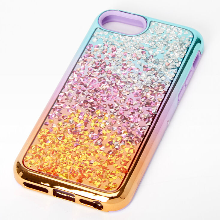 Ombre Chunky Glitter Protective Phone Case - Fits Iphone 6/7/8/SE,
