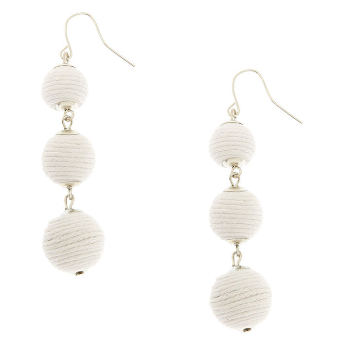 White Ball Drop Earrings