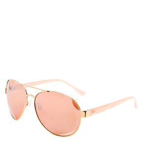 Rose Gold & Pink Marble Sunglasses,