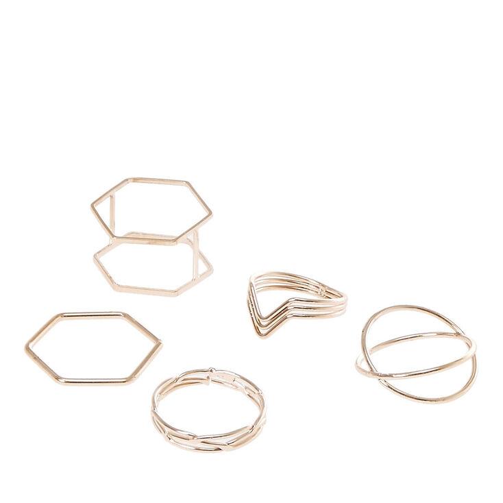 Rose Gold Geometric Rings - 5 Pack,