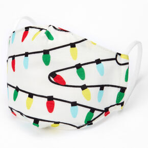 Cotton Christmas Lights Face Masks - Child Medium/Large,