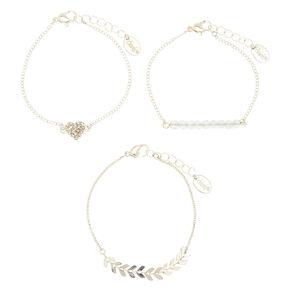 Silver Chevron Heart Chain Bracelets - 3 Pack,