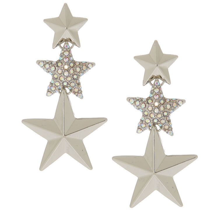 Silver 2 Shooting Star Drop Earrings