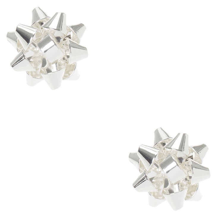 b1e161867 Silver Christmas Foil Bow Stud Earrings | Claire's US