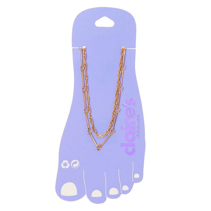 Bracelet de cheville multi-rangs maillons de chaîne torsadés couleur doré,