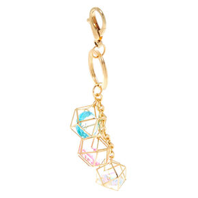 Geometric Crystal Keychain - Gold,