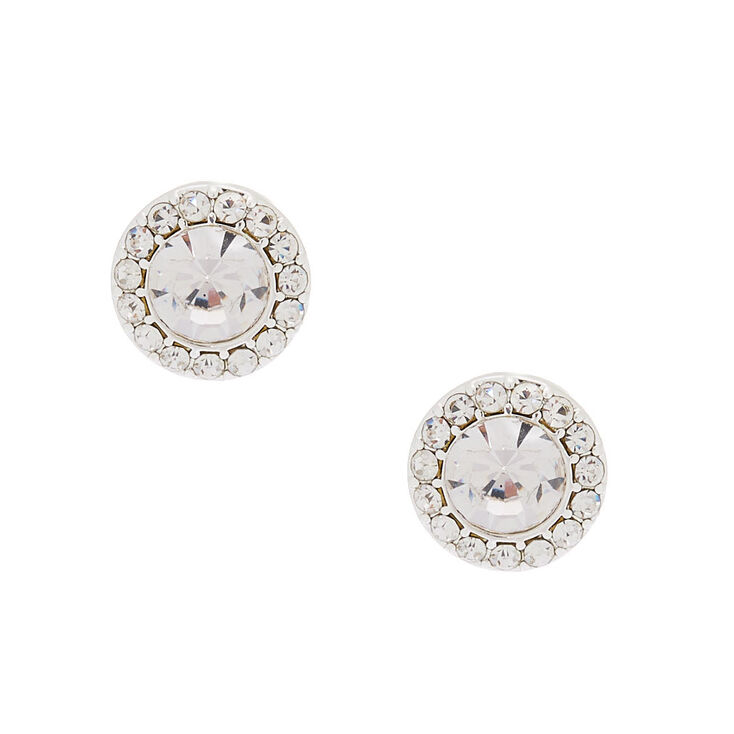 Silver 15MM Halo Crystal Stud Earrings,