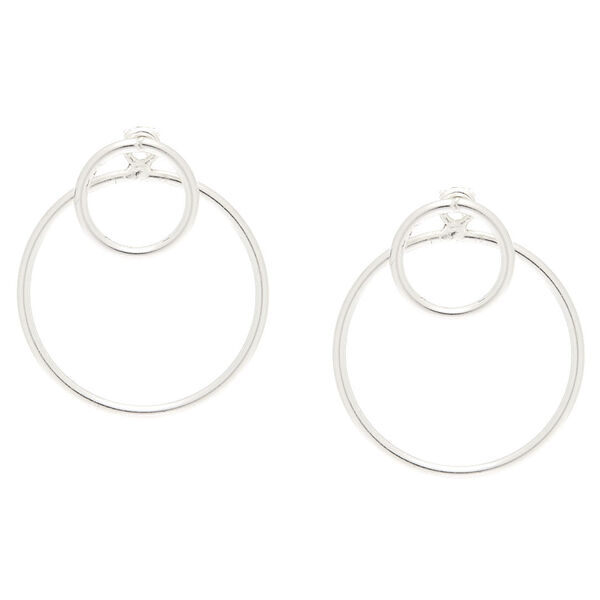 Claire's - sterling front & back circle earrings - 1