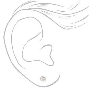 Sterling Silver Crystal Fireball Stud Earrings - White, 5MM,