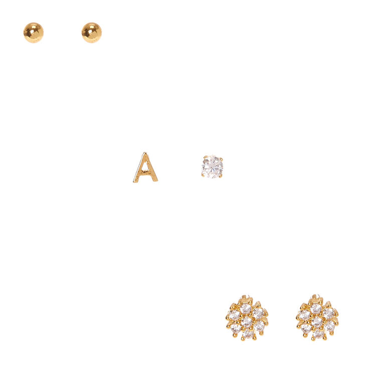 23514183a Gold Plated Stud Earrings Set - Best All Earring Photos Kamilmaciol.Com