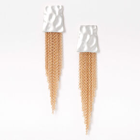 """Mixed Metal 3.5"""" Hammered Linear Chain Drop Earrings,"""