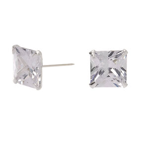 Sterling Silver Cubic Zirconia Square Martini Stud Earrings - 8MM,