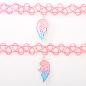 Sisters Neon Heart Glow In The Dark Tattoo Choker Necklaces - 2 Pack,