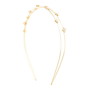 Faux Crystal Squares Gold Double Row Headband,