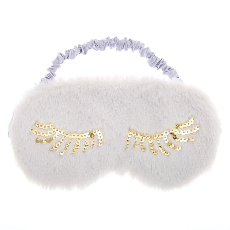 Plush Sequin Eyelash Sleeping Mask - Grey,