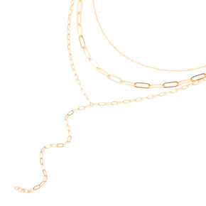 Gold Mixed Chain Multi Strand Necklace,