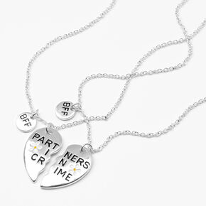 Partners In Crime Heart Pendant Necklaces - 2 Pack, Silver,