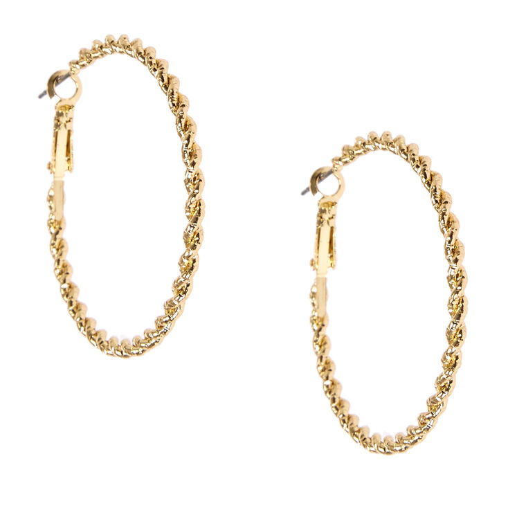 40mm Gold Tone Rope Textured Hoop Earrings