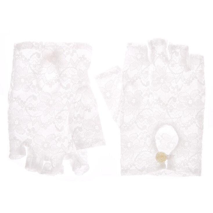 Fingerless Lace Gloves - White,