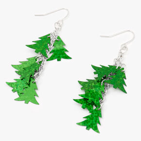 "Silver 2"" Linear Tree Drop Earrings - Green,"