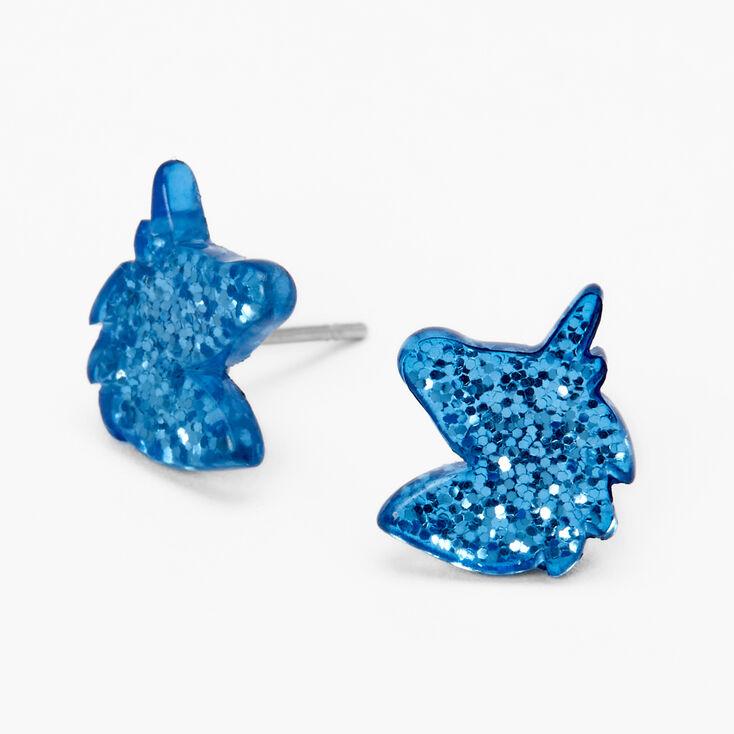 Glittery Unicorn Stud Earrings- Blue,