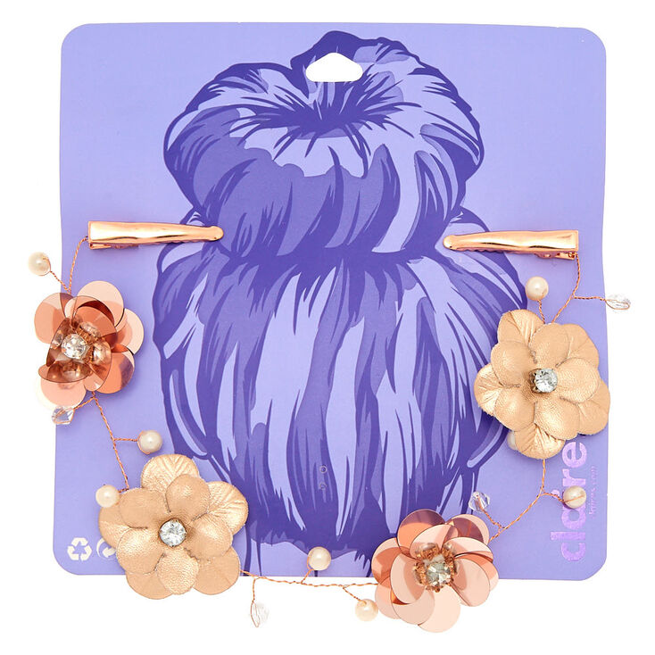 Rose Gold Flower Sequin Hair Swag