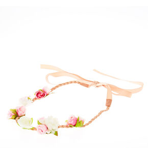 Pink & Nude Plaited Floral Headwrap,