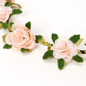 Leaves & Roses Flower Crown Headwrap - Blush Pink,